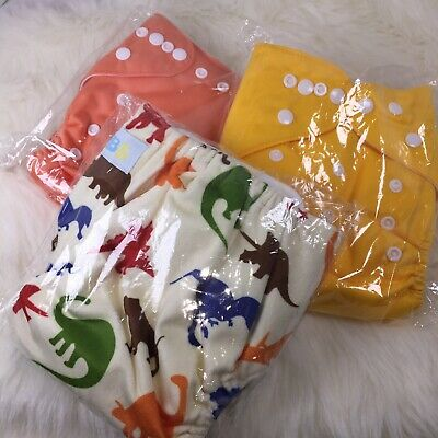 LBB Brand 3 Cloth Diapers w/3 Terry Inserts, Adjustable, Reuse