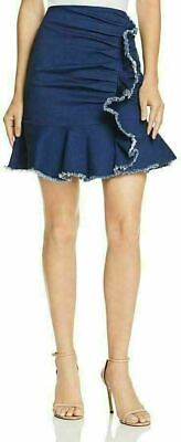 Lucy Paris Women's Kylie Ruffled Ruched Denim Skirt Blue Size XS Summer NWT S12