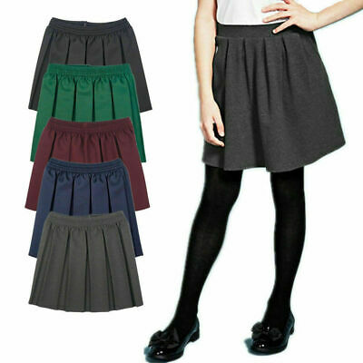 Girls School Uniform Skater Skirt Box Pleated Short Length Elasticated Waist2-18