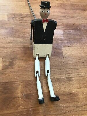 Vintage Folk Art Hand Carved Wooden Jointed Figure Man Suit Americana Toy Puppet