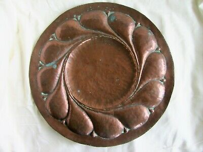 Antique Arts & Crafts large hand hammered copper Plaque. 41 cms diameter
