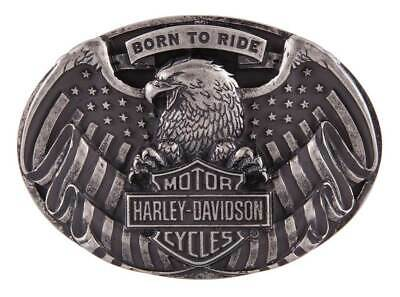 Harley-Davidson Men's Born to Fly Belt Buckle, Antique Nickel Finish HDMBU11401