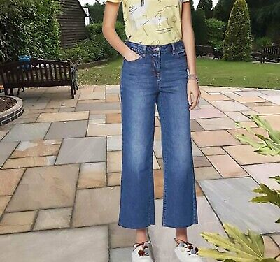 New Womens Blue Crop Ankle Wide Leg NEXT Jeans Size 16 14 12 10 RRP £28