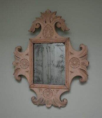 Attractive Early 20th Century French Carved Wood Hall Bedroom Side Table Mirror