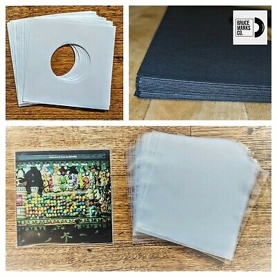 90 RECORD SLEEVES FOR 7″ VINYL - BLACK & WHITE PAPER & CLEAR SLEEVES 45RPM EPs