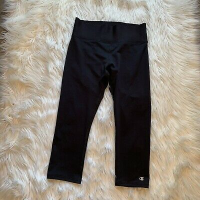 Champion Womens Size Medium Cropped Leggings Power Flex Thick Textured Waistband