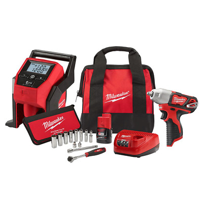 "Milwaukee 2463-21RS M12 12V 3/8"" Cordless Impact Wrench and Inflator Combo Kit"