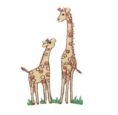 Two Brown Giraffe Iron on Applique//Embroidered Patch Zoo Animals Family