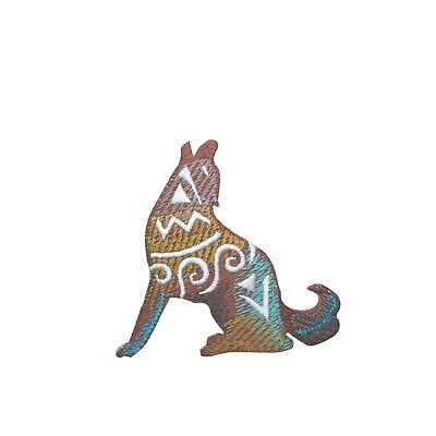 Embroidered Glitter Sparkle Silver Howling Wolf Coyote Applique Patch Iron On