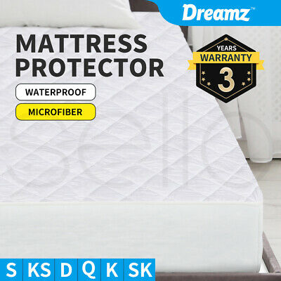 All Size Fully Fitted Microfiber Fibre Waterproof Mattress Protector Cover NEW