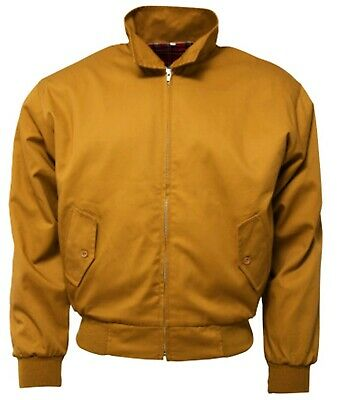 Relco Men's Harrington Mustard Yellow Bomber Tartan Lined Soul Mod Skins Jacket