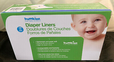 New Sealed 100 Pack Bumkins Flushable Biodegradable Baby Diaper Liners