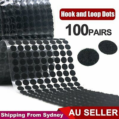 100 Pairs Tape 20mm Circles AU Self Adhesive Hook and Loop Dots Coins Sticky