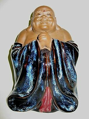 Impressive Laughing Buddha Figure Signed Stamped Chinese Highly Glazed Ex Condit