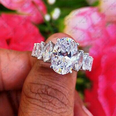 14k white Gold Finish 4.58 ct Oval cut Engagement Solitaire Diamond Ring Size 7