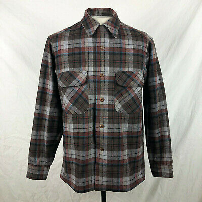 Vintage Pendleton Plaid Button Up L/S Shirt Medium Pure Virgin Wool Made in USA