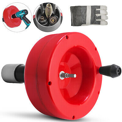 25FT Hand Spin Drain Cleaner Cleaning Coil Snake Clogs Drill Auger for Plumbing