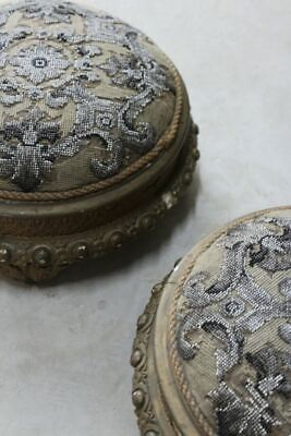 Pair Antique Gilt Floral Tapestry Beaded Footstools Stools