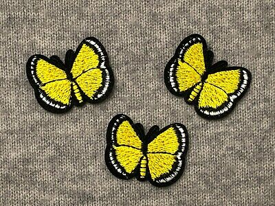 1pc Yellow Butterfly Embroidery Iron Patch Badge AppliqueBug Insect Small