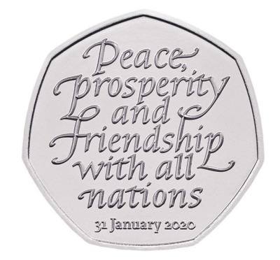 Brexit 50P Coin 2020 Uncirculated From Sealed Circulated Bag  - Trusted Seller