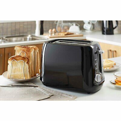 Black 2 slice Toaster 1000W 7 Heat Settings Browning Control Defrost Crumb Tray