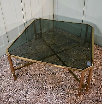 Large Vintage Italian Square Brass Glass Sofa Chair Coffee Side Table
