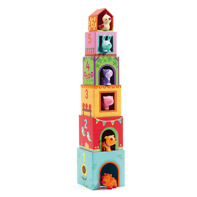 Djeco Topanifarm Kids Stacking Blocks - Early Years Baby Toy