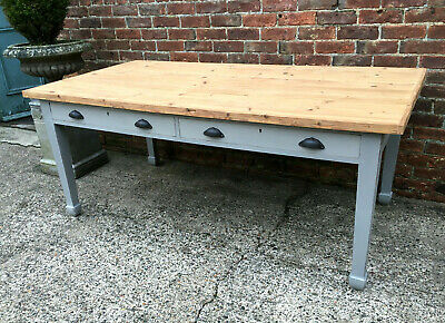 Huge Antique Hand Painted Rustic Pine Top Farmhouse Kitchen Dining Table c1900.