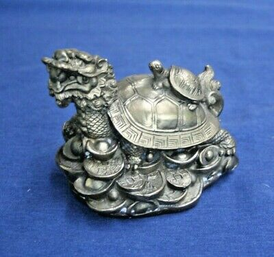 Antique Chinese Fengshui Brass Dragon Turtle On Coins, Wealth, Statue Signed NC