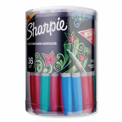 Sharpie Metallic Fine Point Permanent Markers, Bullet Tip, Assorted, 36/Pack
