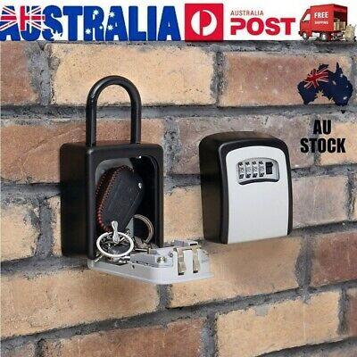Outdoor Hanging 4-Digit Combination Key Safe Box Weather Resistant Security Home