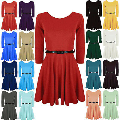 Girls Long Sleeve Swing Skater Dress Belted Flared Kids Childrens Party Unifrom
