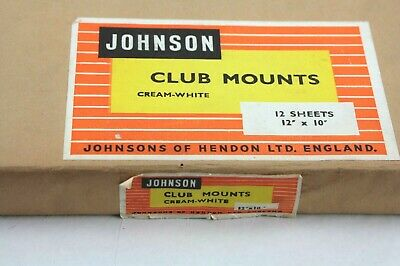 TWO vintage sealed packs of 12 JOHNSON Club Mounts,cream white,thick linen type