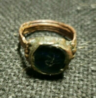 Ancient Byzantine Ring Saphire and bronze.