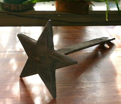 Antique Cast Iron Building Star Wall Anchor Plate strap 1800s era Architectural