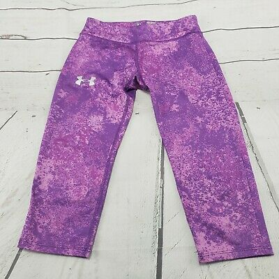 Under Armour Pants Size Small Youth Girls Leggings Fitted Heat Gear Purple Used