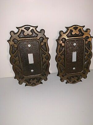 Pair Of Vintage Light switch plate covers Metal/Brass National Lock