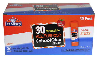 Elmer's Washable School Glue Stick, 0.77 Ounces, Clear, Pack of 30