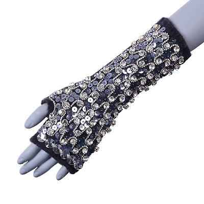 Dolce & Gabbana Cashmere Dress Gloves With Crystals Sequin Grey 05972