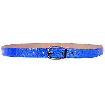 Dolce & Gabbana Sartoria Belt Made of Caiman Crocodile Leather Blue Buckle 07421