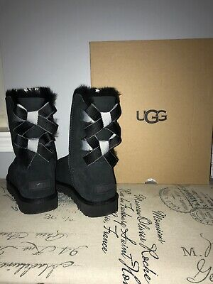 UGG Bailey Bow II Shimmer Black Suede Fur Boots Womens Size 10 NEW 🤩