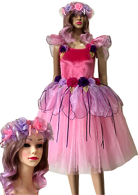 Women's adult fairy dress costume pink velvet buttercup &Free Matching Headpiece