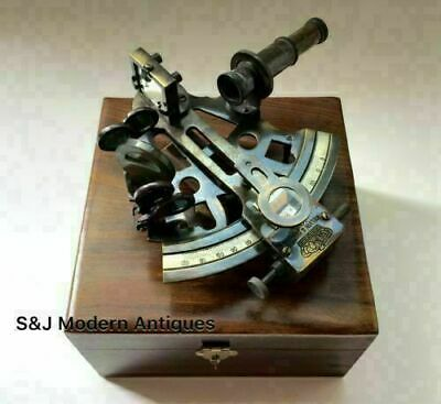 Nautical Table Top Antique Brass Sextant Maritime with wooden box Vintage Gift