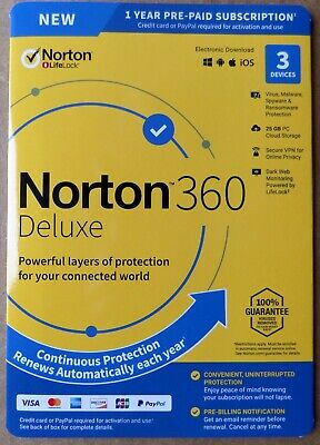 Norton 360 Deluxe 2020 3 Devices VPN 25GB Cloud Parental Internet Security 1year