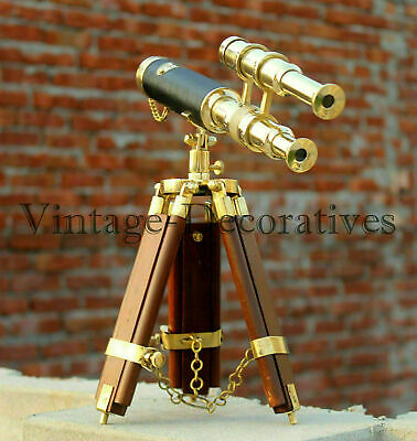 Nautical Double Barrel Working Marine Wooden Brass Telescope Tripod Stand Decor