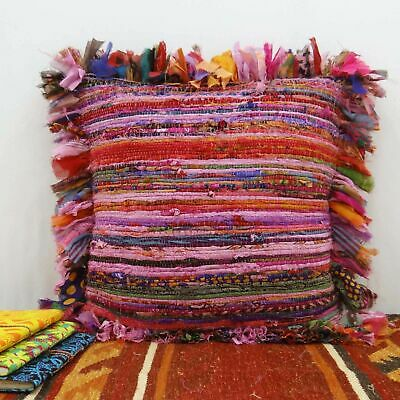 """New Indian Cotton Rug Chindi Cushion Cover Pillow Handmade Ethnic 18X18/"""" Inches"""