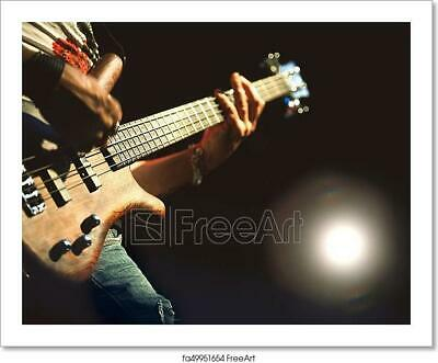 Electric Bass Played During A Art/Canvas Print. Poster, Wall Art, Home Decor