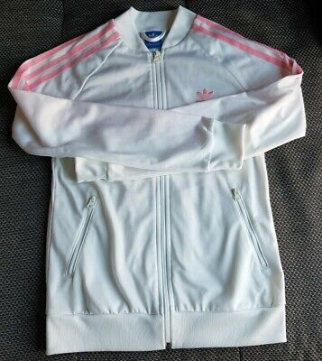 Girls Adidas White Pink Jumper Size 12-13 Years