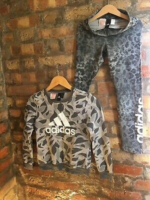 Adidas Girls Grey Jumper/Sweater & Leggings Set Ages 9-10