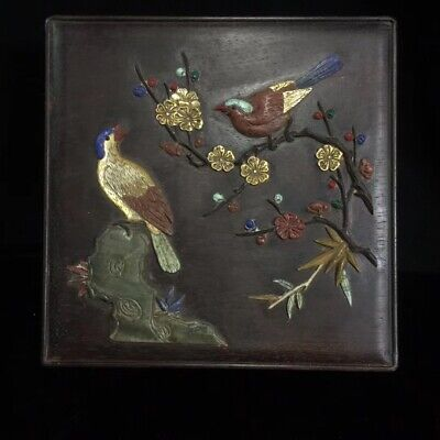 Old Chinese Qing dynasty handwork black Sandalwood Hand Painted Box statue QQQ